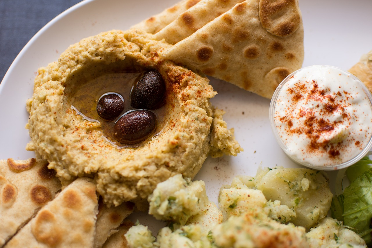 Hummus on a plate