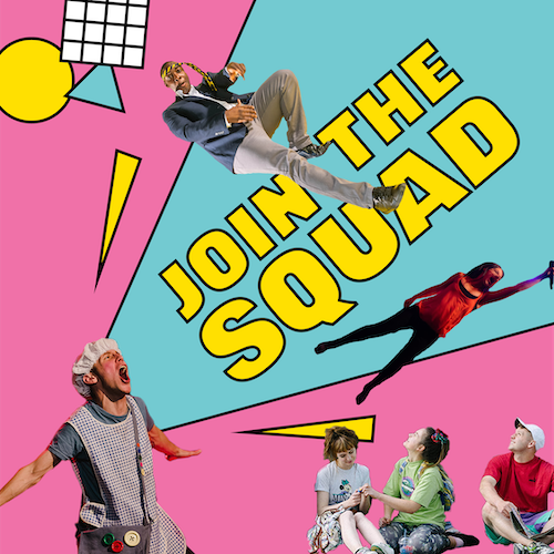 Cut outs of performers from past Middle Child shows on a 90s style blue and pink background. Text: Join the Squad (supporters scheme)