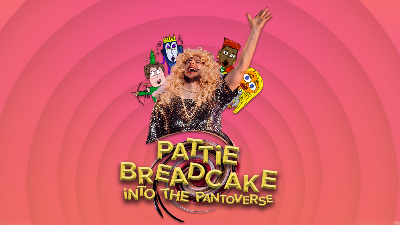 Pattie Breadcake and four animated panto characters are sucked into a vortex, against a pink background. Text: