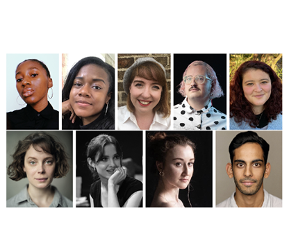 A collage of nine portraits of the associate writers