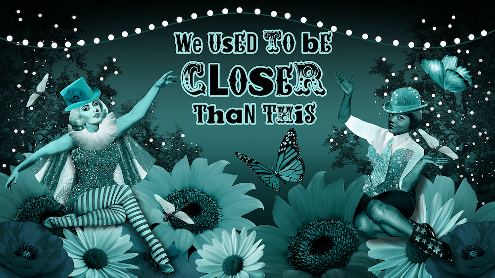 Surrealist collage of two female burlesque characters sat amongst blue and turquoise flowers, butterflies and dragonflies