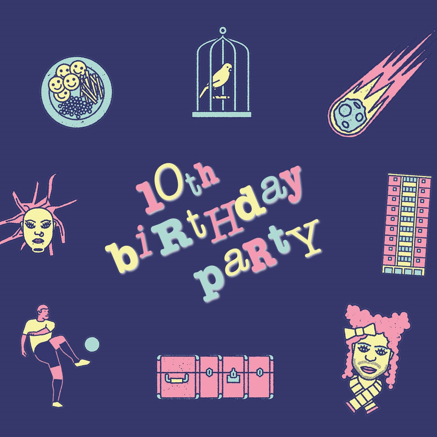 Illustrations of images from past Middle Child shows with text: 10th Birthday Party